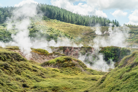 Geothermal hot springs on sunny day, Craters of the Moon, New Zealand Фото со стока