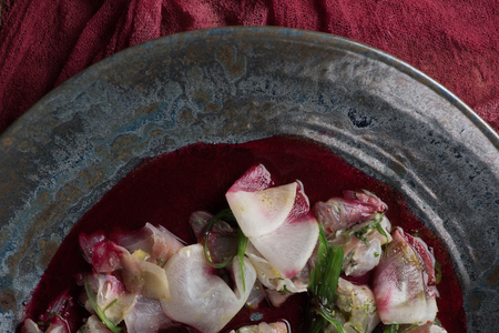 close-up view of delicious ceviche with dorado in plate Stock Photo