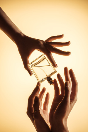 cropped view of women holding luxury perfume bottle, isolated on yellow