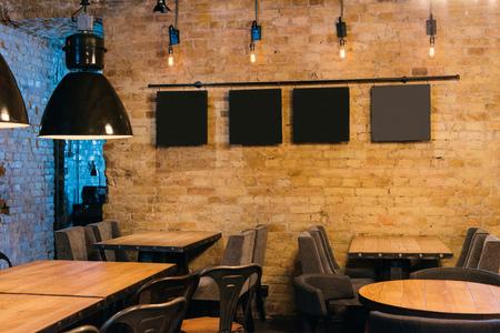 stylish atmospheric interior of empty pub Stockfoto