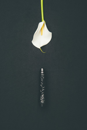 Black dildo with white calla flower isolated on black