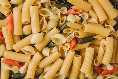top view of various types of raw pasta