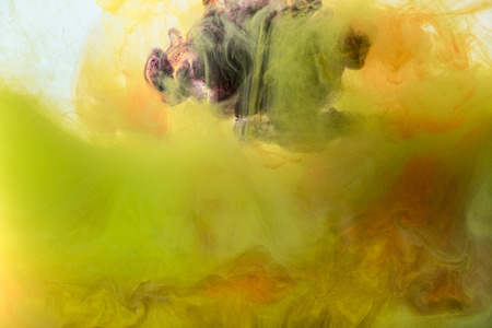 artistic background with flowing yellow, orange and purple paint Banque d'images - 106794363