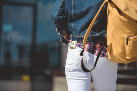 cropped shot of stylish female tourist with backpack and dollar banknote in pocket of jeans