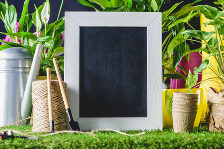 closeup shot of empty blackboard and gardening equipment on lawn Reklamní fotografie - 106733665