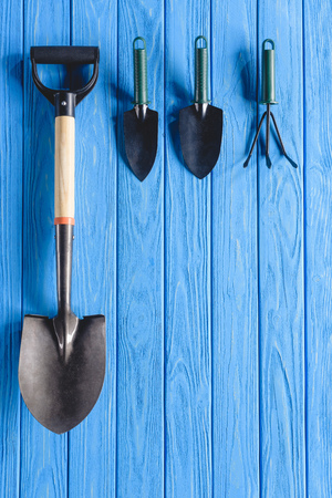 top view of arranged gardening tools placed in row on blue wooden planks