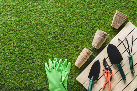 top view of protective gloves, flower pots and gardening tools on grass Banco de Imagens