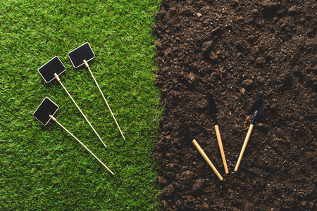 top view of empty blackboards on grass and gardening tools on soil 版權商用圖片