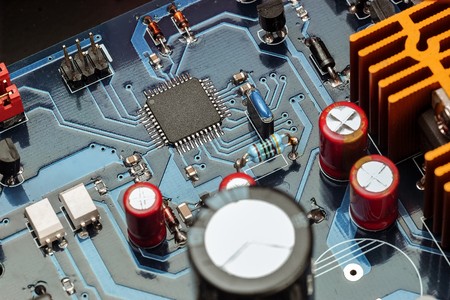 Vista de cerca de la placa del sistema electrónico Foto de archivo