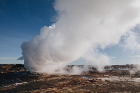 beautiful icelandic landscape with steam from geothermal hot springs, reykjanes, Gunnuhver Hot Springs, iceland