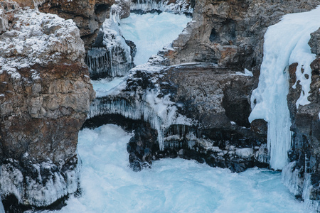 scenic view of snow-covered rocks in iceland, Hraunfossar