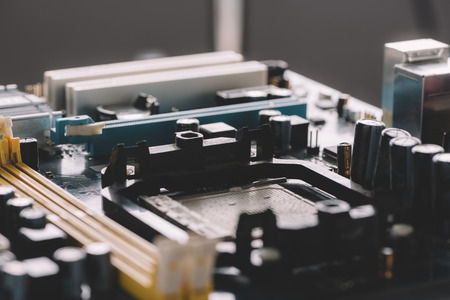 Typical desktop computer system board close-up view