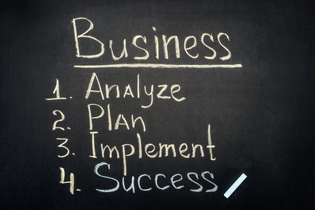 Business process stages inscription on dark chalkboard
