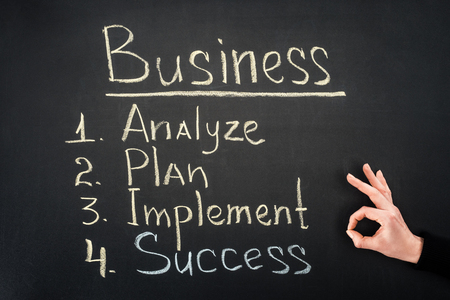 Hand showing ok sign by blackboard with business process stages Reklamní fotografie