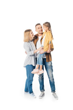 smiling man holding cute daughter with wife standing near by isolated on white Banque d'images