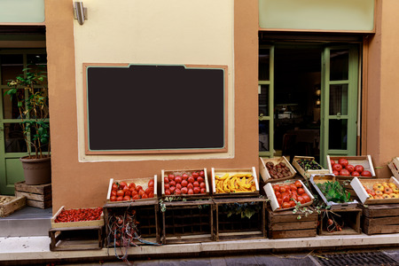 fruits and vegetables selling on street of old european town, Antibes, France