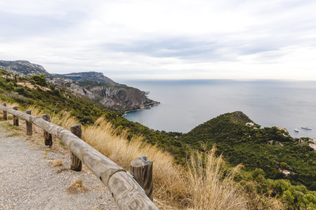 beautiful seashore from viewpoint on mountain trail, Fort de la Revere, France Stock Photo