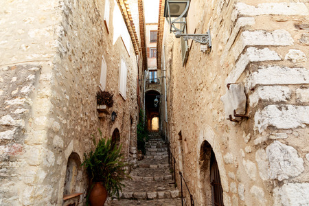 stairs between ancient building at old european town, Antibes, France
