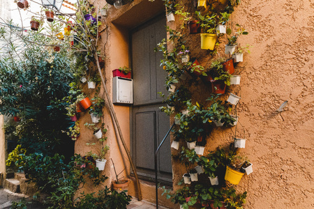 door in ancient european building decorated with flower pots hanging on wall, Cannes, France Stok Fotoğraf