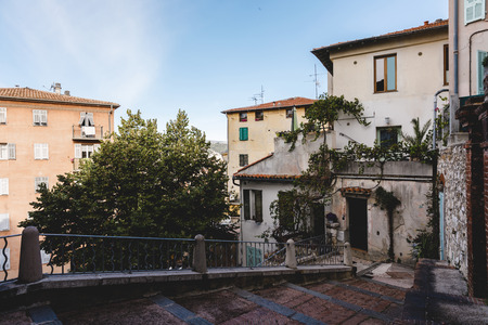 view of beautiful old building at european town on suny day, Nice, France 版權商用圖片