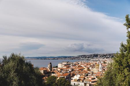 aerial view of beautiful european town on sea coast, Nice, France Stock Photo