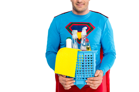 cropped shot of smiling  holding cleaning items isolated on white