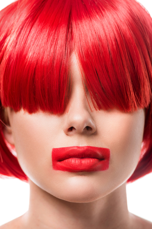 beautiful woman with red hair and red lips in shape of rectangle isolated on white Archivio Fotografico