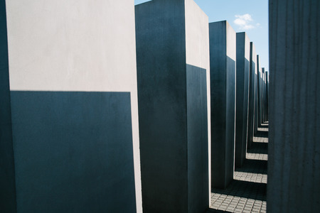 BERLIN, GERMANY - JUNE 20, 2017: historical architecture The Holocaust Memorial, Memorial to the Murdered Jews of Europe in Berlin, Germany