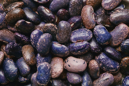 Close-up view of raw dry purple haricot beans texture Stock Photo