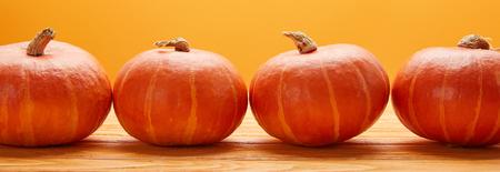 horizontal view of ripe fresh pumpkins on wooden surface on orange