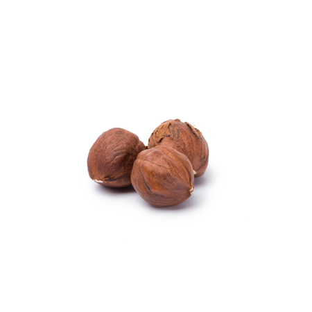 handful of hazelnuts without nutshells isolated on white background 写真素材