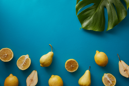 top view of palm tree leaf, pears and lemons on blue surface