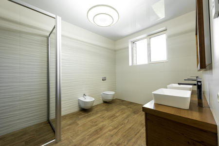 interior of modern bathroom with glass shower, toilet, bidet and two sinks Stock Photo