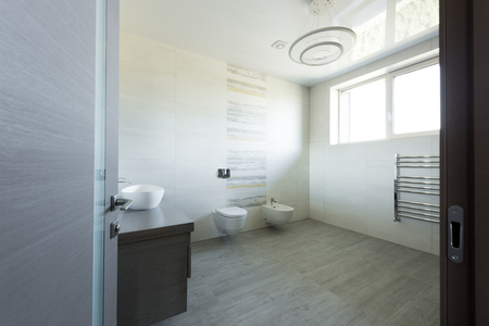 interior of modern grey bathroom with toilet and bidet, view from door