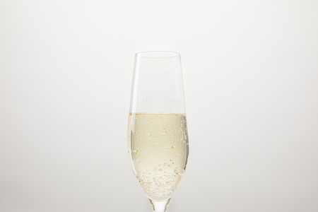 champagne glass with bubbles isolated on white background Stock Photo