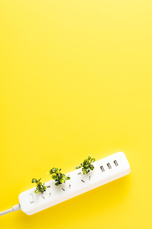 top view of socket outlet with green twigs on yellow background, renewable energy concept Stock Photo