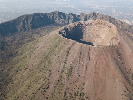 aerial view of scenic mount vesuvius, Naples in Campania, Italy
