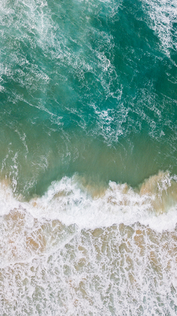 aerial view of beautiful sea with foamy waves, Cyprus Imagens