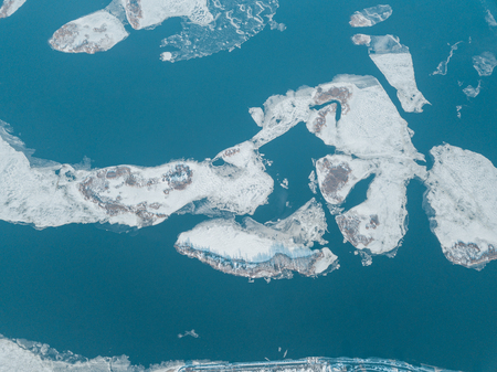 aerial view of floating ice in blue river, Kyiv, Ukraine
