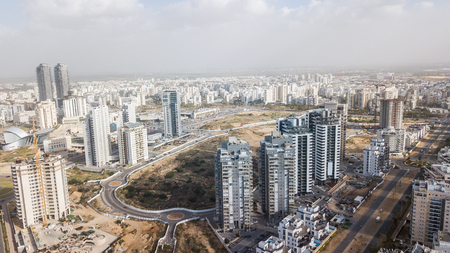 aerial view of modern city district with apartment buildings, Ashdod, Israel 스톡 콘텐츠