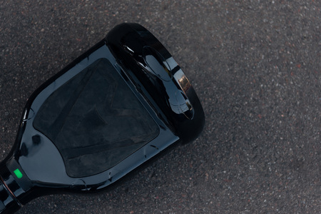 top view of black self-balancing board on street Stock Photo