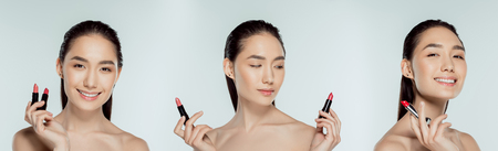 collage with beautiful asian girl holding lipsticks, isolated on grey