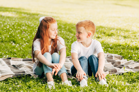 beautiful happy brother and sister smiling each other while sitting on plaid at picnic in park
