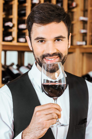 handsome smiling sommelier sniffing red wine from glass at wine store Stock Photo