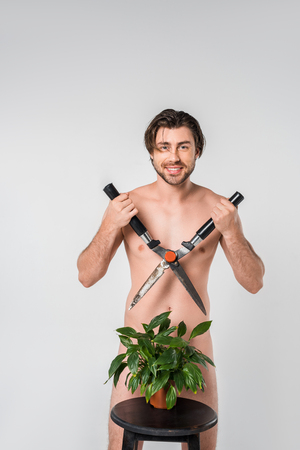 smiling naked man with clipper standing behind green plant in flowerpot on chair isolated on grey Foto de archivo