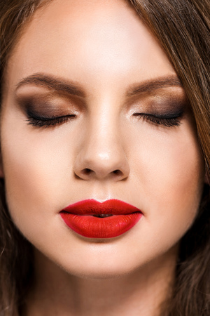 portrait of young stylish woman with red lipstick on lips and eyes closed Stock fotó