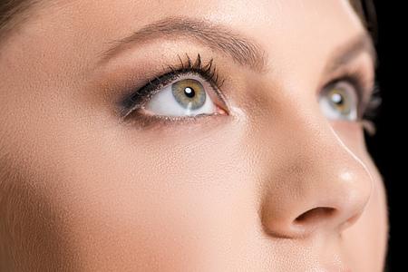 partial view of woman with makeup looking away Stock fotó