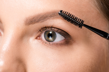cropped shot of woman with makeup brush for eyebrows Stock fotó