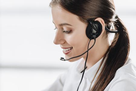 beautiful female call center worker with headphones Stock fotó