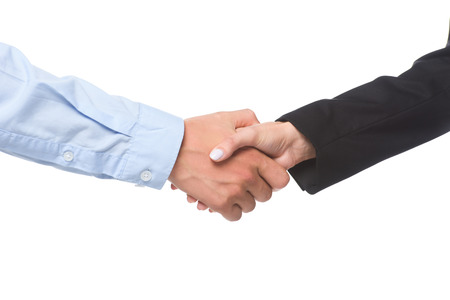 cropped shot of business partners shaking hands isolated on white